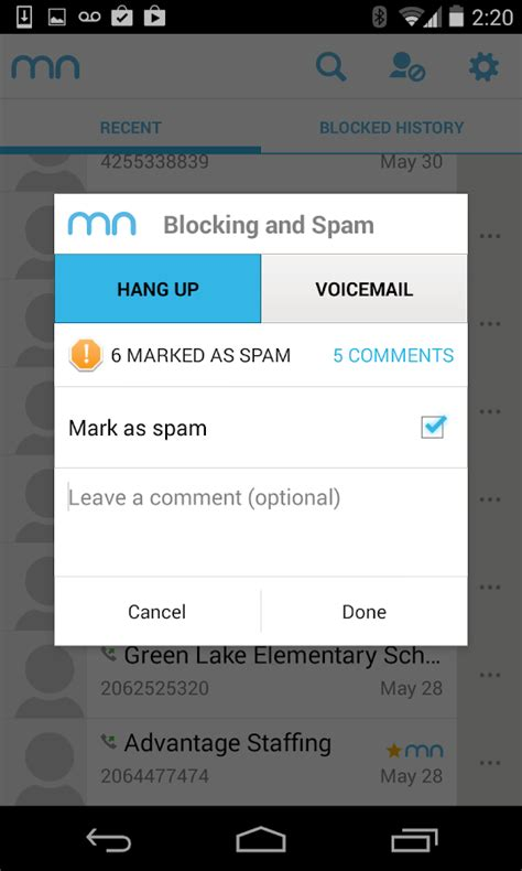 android block number mr number block calls spam screenshot