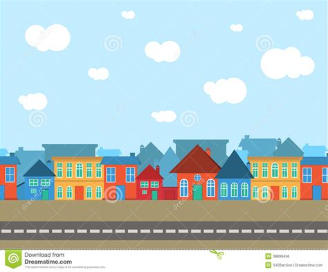Victorian Row House - vector village different style with blue sky stock vector image 38899456