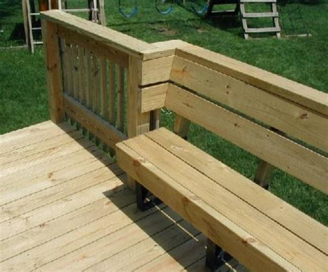 deck railing bench 2x4 bench from prefab brackets showing how to incorporate