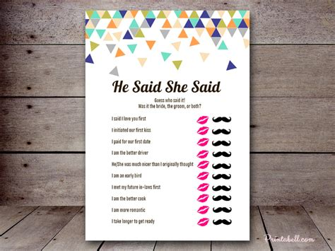 who said it bridal shower template bridal he said she said printabell create