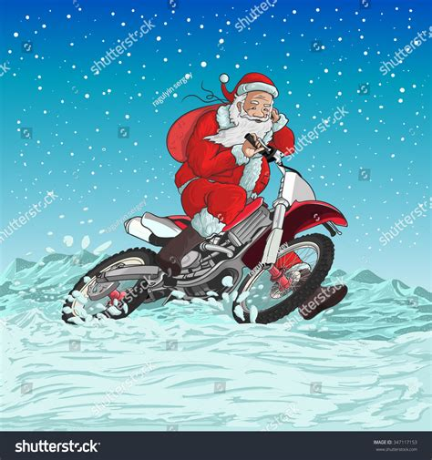 santa on a motorcycle santa on a motorcycle is racing for the new year stock