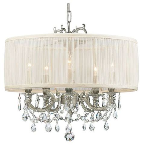 White Drum Shade Chandelier Transitional Style Chandelier White Drum Shade With Crystals Lighting Pinterest Pewter