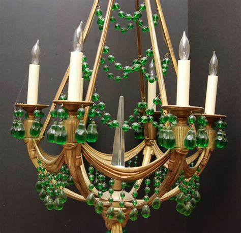 green chandelier crystals a empire style bronze with green crystals