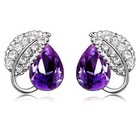 Anting Earrings acacia leaves earrings 925 sterling silver anting wanita purple jakartanotebook