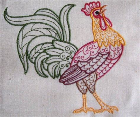embroidery design rooster machine embroidery design rooster colorline 01 with 4 sizes