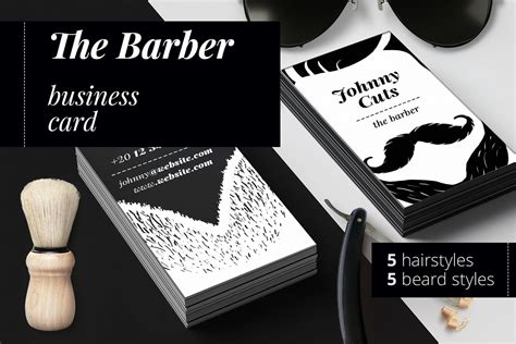 Barber Business Card Template by The Barber Business Cards Templates By Design Bundles