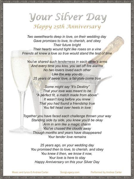 Wedding Anniversary Song For by Lyric Sheet For Original 25th Anniversary Song Your