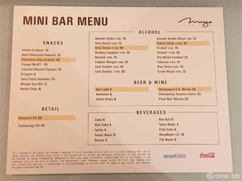 Bar Cost Mini Bar Prices Picture Of The Mirage Hotel Casino
