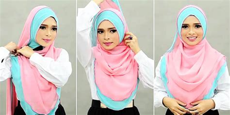 tutorial jilbab syar i dua warna tips hijab menutup dada dua warna feminin yang bikin