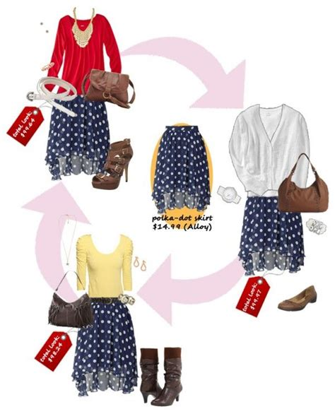 7 Ways To Wear Polka Dots by 3 Ways To Wear A Navy Polka Dot Skirt Basic Clothes