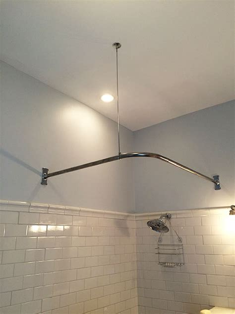 Corner Shower Rod With Ceiling Support by Corner Shower Rod 30 X 60