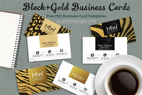 themed psd photo card templates business card psd templates in black and gold jungle theme
