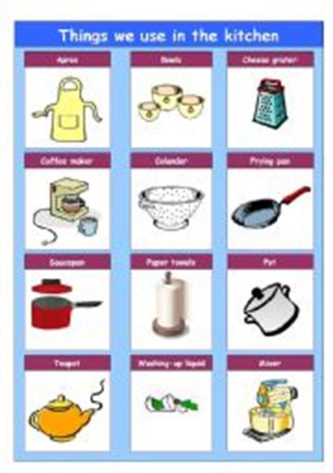 Things In The Kitchen Vocabulary by Worksheet Things We Use In The Kitchen