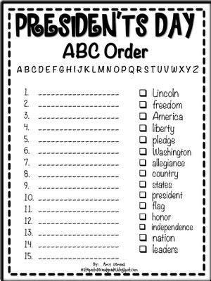 printable abc order president s day abc order printable alphabet presidents