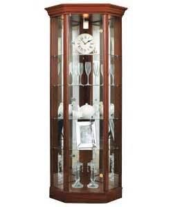 Corner Glass Display Cabinet Beech Effect Corner Glass Display Cabinet Mahogany Effect