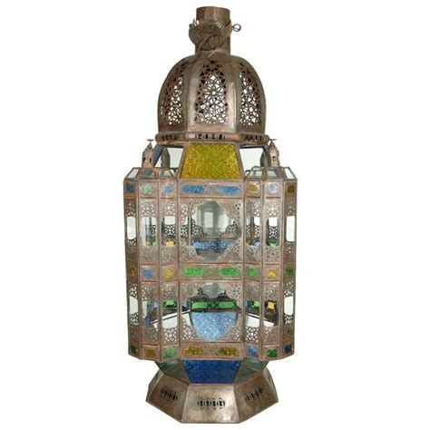 Large Glass Candle Lanterns Large Moroccan Candle Glass Lantern From Marrakech At 1stdibs