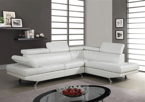 white sectional leather sofa u9782 sectional sofa in white bonded leather by global