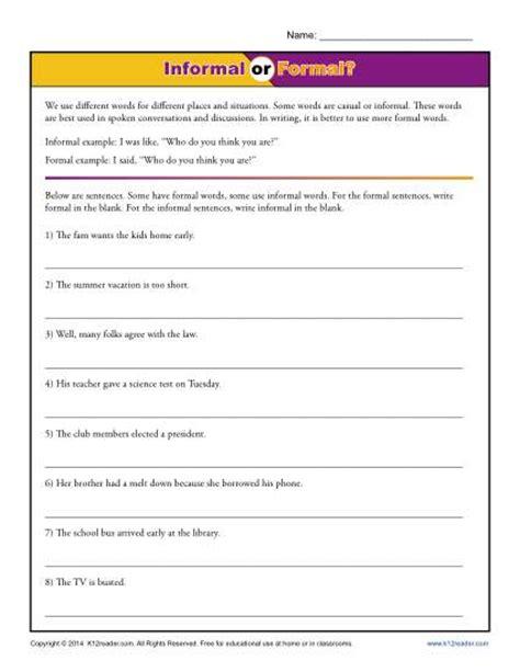 Formal Letter Worksheets Informal Or Formal Writing Worksheet