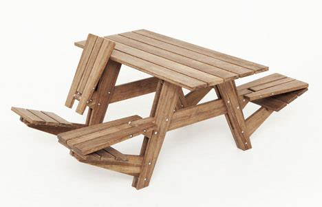 Picnic Table Bench Combo Plan Reversible Picnic Table Seats Flip Out Into 4 Lounge Chairs