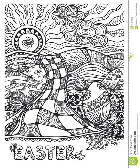 doodles coloring relaxing book take it and color wherever you go books zen doodle easter landscape black on white stock vector