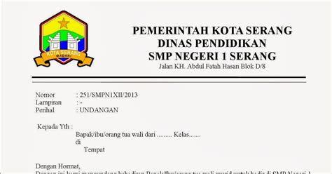 contoh surat resmi sekolah kesambet