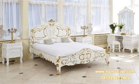 Ranjang Jepara Putih kamar tidur racoco ukir jepara gold putih ksu 291 kamar