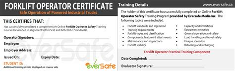Forklift Operator Card Template by Lift Truck Certification Csa B335 15
