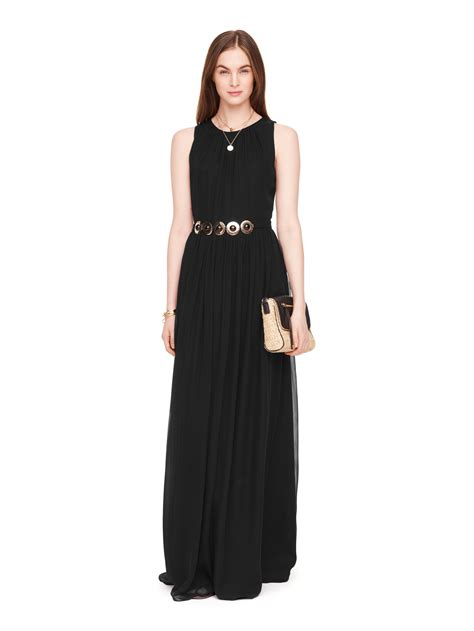 kate spade new york belted chiffon maxi dress in black lyst