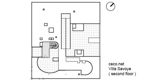 villa savoye floor plan dwg villa savoye le corbusier second floor rooftop block