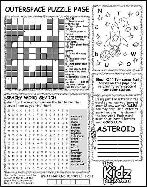 pages and puzzles outer space activity puzzle page sheet free coloring