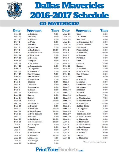 printable mavericks schedule 2016 2017 dallas mavericks schedule printable nba