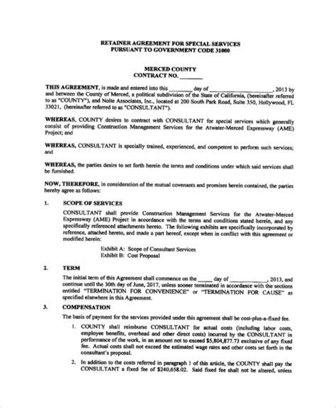 consulting retainer agreement template sle consulting agreement 9 exles in word pdf