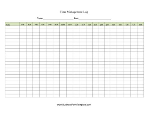 Time Management Log Template Time Management Template