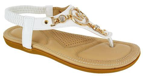 Comfort Dress Sandals by Womens Flat Comfort Diamante Summer Dress