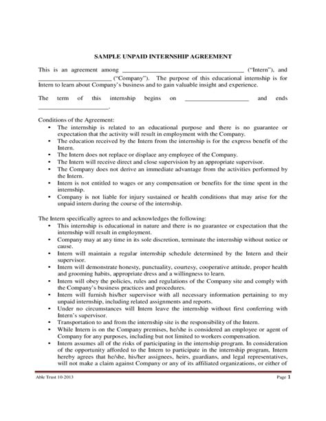 Unpaid Internship Agreement Template