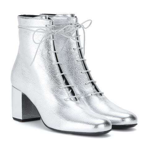 Shoe La La Silver Ankle Boots For by Lyst Laurent Metallic Leather Ankle Boots In Metallic