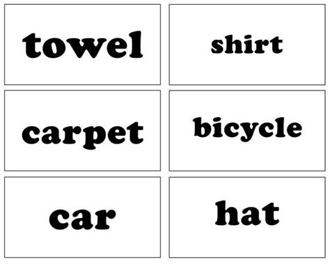 sight word flash card template sight words household items free printable coloring pages