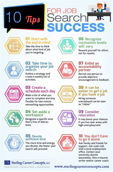 career advice for women tips for having a successful career infographic 10 tips for job search success sterling