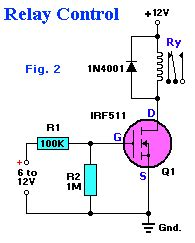 transistor mosfet relay relay with mosfet irf511 circuit b2b electronic components
