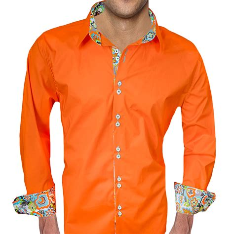 bright color shirts bright orange with multi color accent dress shirts