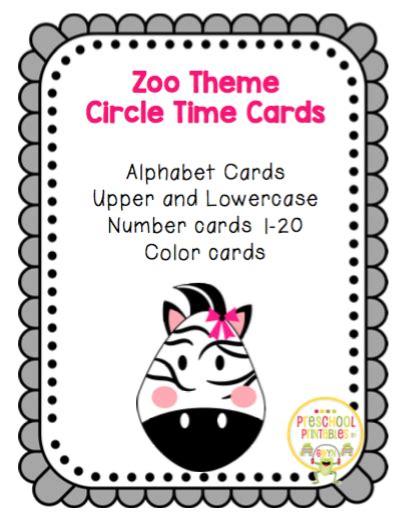 theme music to zoo time zoo theme circle time large cards preschool printables