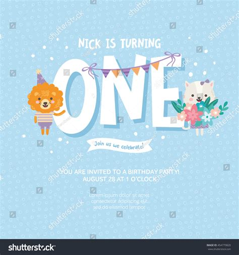 one year birthday card template greeting card design cat stock vector 454779820