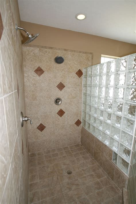 Glass Block Showers Small Bathrooms Astounding White Walk In Shower Ideas With Fascinating Glass Block Divider Room Design Also
