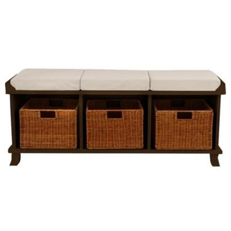 entryway bench with baskets and cushions entryway bench with 3 baskets cushions espresso