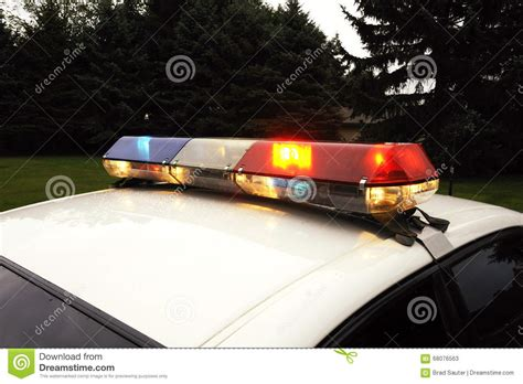 police car lights meaning lightbar of an emergency vehicle police car stock image