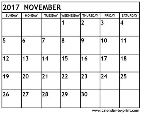 Calendar 2017 Monthly To Print November 2017 Calendar Printable