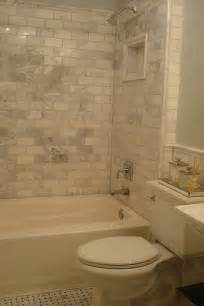 subway tile small bathroom marble subway tiles transitional bathroom