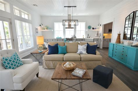 Beadboard Kitchen Island Vaulted Ceiling Living Room Cottage Living Room