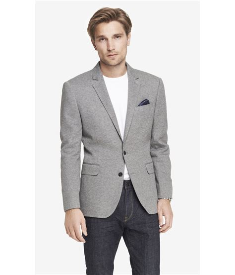 Express Knit Blazer In Gray For Lyst