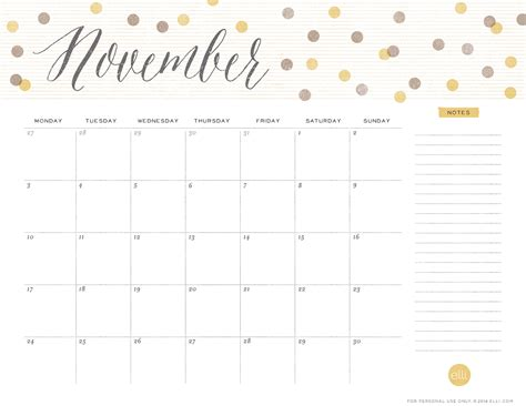 printable november 2017 calendar cute 6 best images of cute printable calendars november cute